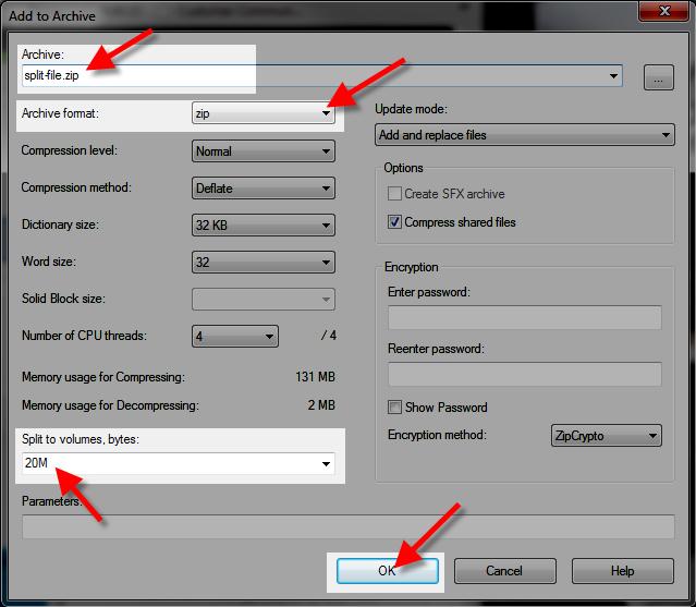 Editing Settings For Splitting File In 7 Zip