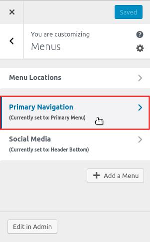 Select menu to edit