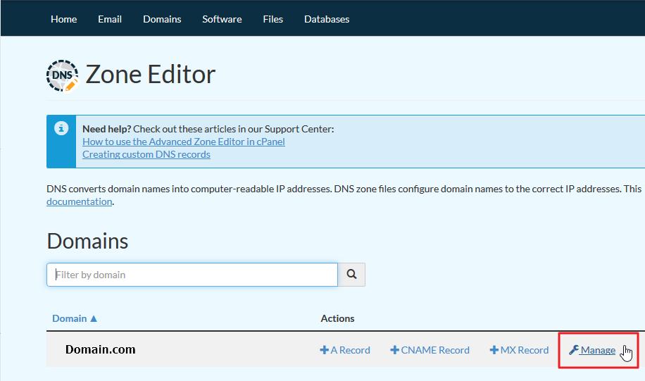 Screenshot selecting Manage icon