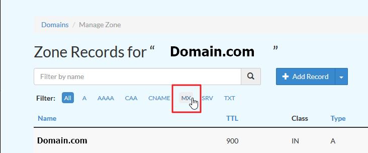 Screenshot selecting MX filter
