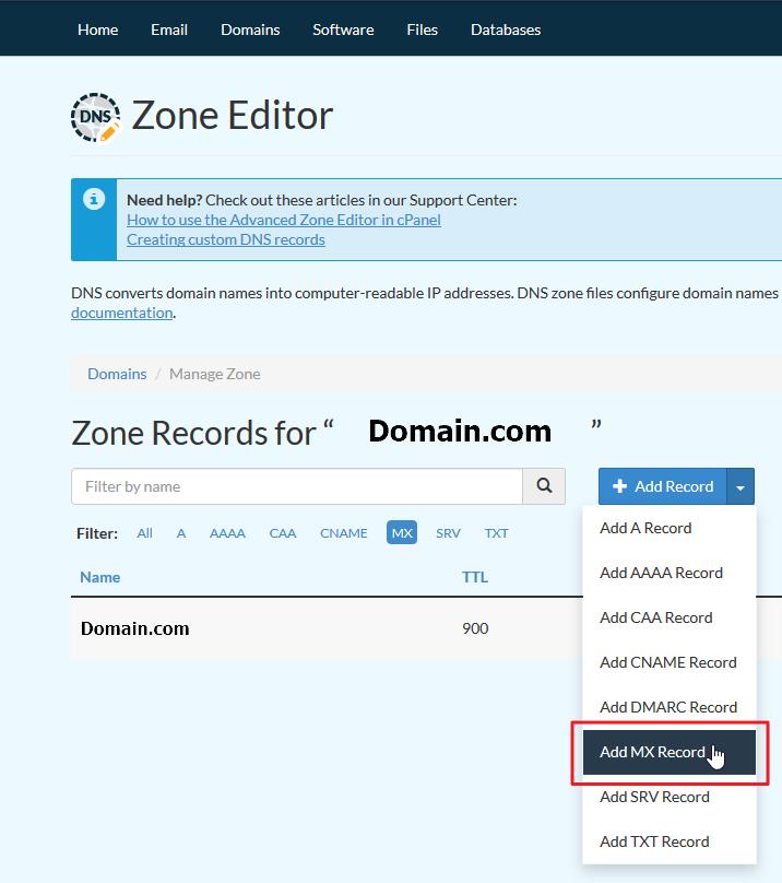 Screenshot selecting Add MX Record under Add Record