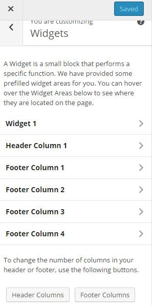 Click on widget area