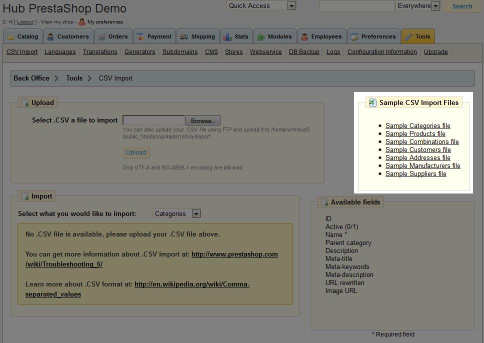 Preparing Files for PrestaShop CSV Import | Web Hosting Hub