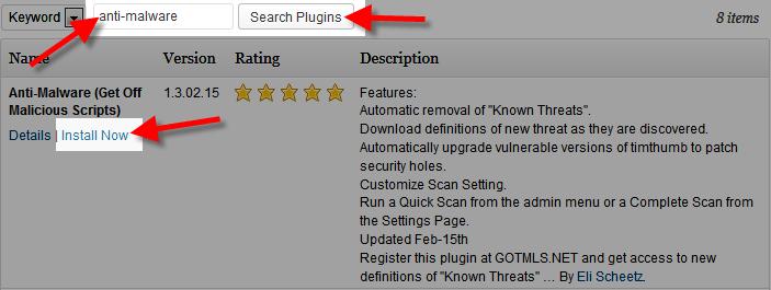 Using the Anti-Malware (Get Off Malicious Scripts) Plugin